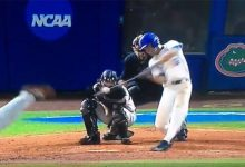WATCH: Luck, lightning strike as Florida baseball earns walk-off win in Game 1 of Super Regional