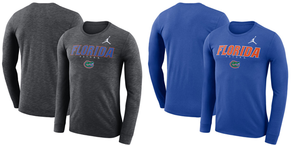 1afedb8ed0c Florida Gators Jordan Brand Facility Dri-FIT Cotton Long Sleeve T-Shirt —  Buy in Blue or Charcoal